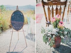 "Ceremony chalkboard sign: ""Friends of the bride, friends of the groom - please sit together, there is plenty of room."""