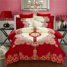 Cheap king size, Buy Quality bedding set directly from China printed bedding set Suppliers: Svetanya Wedding Red Bedlinen Print Bedding Sets Queen King Size 100% Sanded Cotton