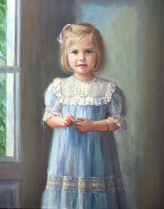 Gorgeous three-quarter length oil portrait of a girl by a Portraits, Inc. artist