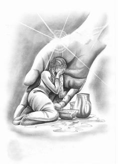 Lady safe in hand of Jesus, prophetic art. Coloring for adults en kleuren voor volwassenen
