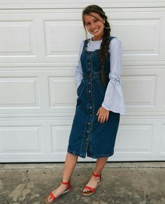 Pɹıǝʍ ʎɐʇs 🤩 apostolic clothing ✨ в 2019 г. skirt outfits modest, casual s Cute Modest Outfits, Modest Skirts, Summer Outfits, Casual Outfits, Jean Skirts, Denim Skirts, Midi Skirts, Long Skirts, Skirt Fashion