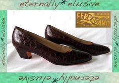 SALVATORE FERRAGAMO VTG Leather Croc Pump Shoe Women Ladie Size UK 7 EUR 40 US 9   16.00