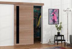 Posuvné dvere so sklom CABANA | Expedo.sk Aluminium, Cabana, Divider, Furniture, Home Decor, Products, Corning Glass, Timber Wood, Nice Asses