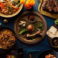 This Persian-Inspired Menu Will Upgrade Your Passover / Photo by Chelsea Kyle, Prop Styling by Alex Brannian, Food Styling by Anna Hampton Passover Menu, Passover Recipes, Jewish Recipes, Passover 2017, Easy Persian, Moroccan Vegetables, Seder Meal, Cherry Sauce, Almond Cookies