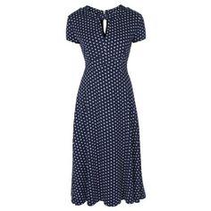 Tmavě modré retro šaty s bílými puntíky Lindy Bop Juliet