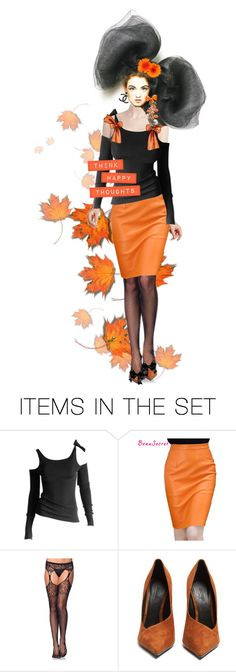 """Think Happy Orange & Black Thoughts"" by halloweenismyfav ❤ liked on Polyvore featuring art and black"