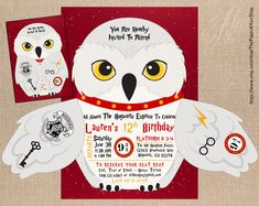 Harry Potter Owl Wizard Party Invitation (You Print + Assemble) https://www.etsy.com/listing/602341396/owl-wizard-party-invitation-you-print?ref=shop_home_feat_2