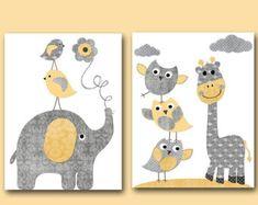 Juego de Baby Boy vivero arte imprimir niños pared por artbynataera