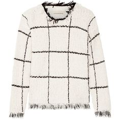 Tapania fringed checked cotton-blend bouclé sweater, By Malene Birger,... ($335) ❤ liked on Polyvore featuring tops, sweaters, checkered sweater, embellished sweater, white fringe sweater, white top and fringe sweater