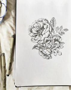 Pivoines botaniques de 85 x 11 Floral Pen & par emiliebelle