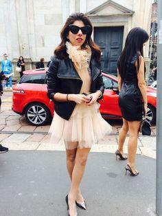 Fashion Street -organza dress . black jacket - Milan 15