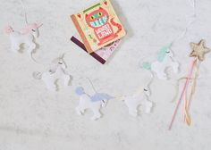 A Special unicorn garland, unicorn bunting, white unicorn nursery decor with glitter details