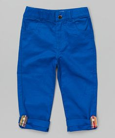Look what I found on #zulily! Blue Twill Convertible Capri Pants - Infant, Toddler & Boys #zulilyfinds