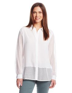 Calvin Klein Women's Collar Blouse with Mesh $37.49