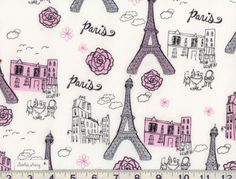Fabric Swatch Sample GLITTERY PINK SILVER and Black Eiffel Tower Paris Fabric