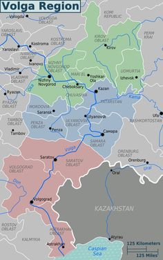 Administrative map of the historical Volga region of Russia.