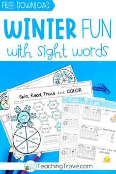 These winter sight word activites are so easy to prepare and make sight word practice lots of fun for your young readers. Teaching Sight Words, Sight Words List, First Grade Sight Words, Sight Word Practice, Sight Word Games, Teaching Phonics, Sight Word Activities, Kindergarten Literacy, Literacy Activities