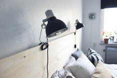 Sänggavel av plywood med klämspots