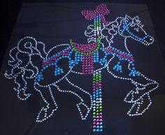 Carousel Horse Iron On Rhinestone Transfer