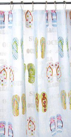 Amazon.com: Blue White Green Red Eco Friendly Beach Flip Flop Peva Bathroom Shower Curtain: Bedding & Bath