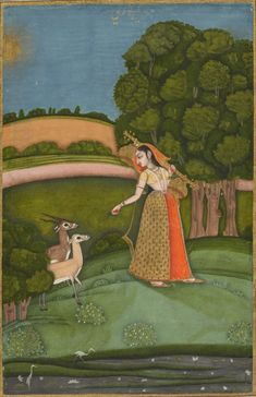 Todi Ragini. From a Ragamala Series, Opaque watercolor with gold on paper, Eastern India, Bengal, Murshidabad, ca. 1755
