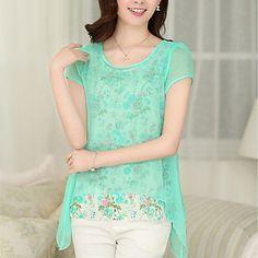 Women's+Print+Blue/Pink/Green+Blouse+,+Round+Neck+Short+Sleeve+Flower/Mesh+–+USD+$+15.99