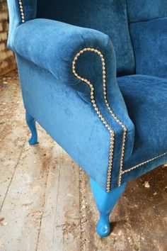 Details About MODERN QUEEN ANNE CHESTERFIELD WING ARM CHAIR EXTRA HIGH BACK  TEAL BLUE VELVET