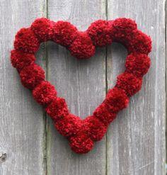 Valentines Day Red Pom Pom Heart Wreath by DarsisDesigns on Etsy