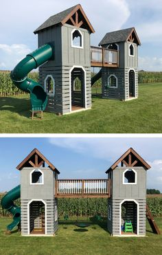 The Twin Peaks play-set plan. Two towers with two levels each, connected by a b. The Twin Peaks pl Kids Yard, Play Yard, Backyard For Kids, Backyard Projects, Backyard Ideas, Garden Projects, Wood Projects, Backyard Playset, Backyard Playhouse