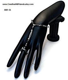 SILVER Slave Bracelet and Ring Silver Beads Czech Black Beads Stretch Bracelet Ring Bracelet Hand Bracelets by CreativeNWFriends on Etsy