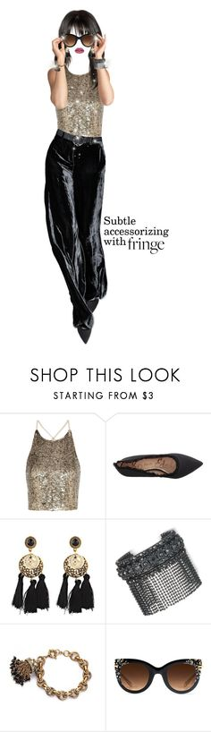 """Shimmery Shimmery Fringe"" by shellygregory ❤ liked on Polyvore featuring Alice + Olivia, Sam Edelman, Marchesa, Krewe, Huda Beauty and fringe"