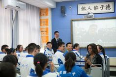 """3/25/14 Via  @Elo Die Dicker """"I am more confident than ever before in our shared future."""" —Mrs. Obama to students in China, http://wh.gov/lppOT  #FLOTUSinCHINA #PowerOfEducation"""