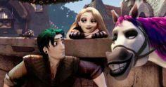 Rapunzel, Flynn, and Maximus