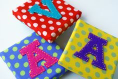 Small square canvas with felt letter by binkeeshop on Etsy