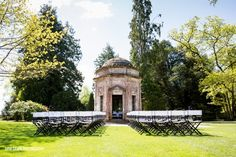 The Roman Temple - At the Larmer Tree there are four unique buildings for you to choose where to hold your ceremony. This is the very romantic Roman Temple. You and your beloved take your vows in the company of up to four witnesses.  The other guests in your party enjoy the ceremony seated outside in our extraordinary garden. Larmer Tree wedding venue in Salisbury, Wiltshire