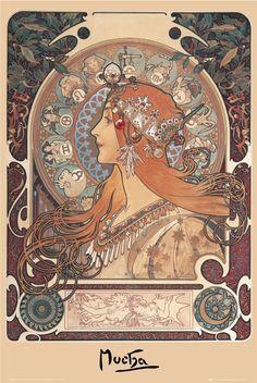 mucha-zodiac,1860-1939, abstract modern realism