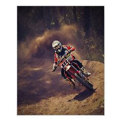Shop Dirt Biker Over the River and Through the Woods Poster created by ElainePlesser. Bike Rider, Over The River, Corner Designs, Custom Posters, Custom Framing, Biker, Darth Vader, Fine Art, Trail