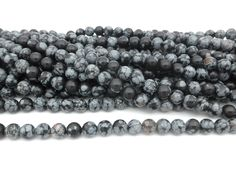 Snowflake Obsidian, Gemstone Beads, Black And Grey, Gemstones, Round Beads, Snowflakes, Jewelry Making, Gems, Snow Flakes