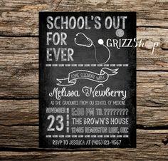 Chalkboard Graduation Invitation on Etsy, $15.00