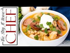 White Chicken Chili gets some cajun flair with andouille sausage, shrimp, and cajun spices for a hearty white chili that will knock your socks off! Bean Recipes, Chili Recipes, Mexican Food Recipes, Soup Recipes, Cooking Recipes, Ethnic Recipes, Chicken Recipes, Recipies, Red Bean And Rice Recipe
