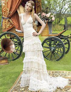 """""""Gypsy"""" wedding dresses by YolanCris Lace Wedding Dress, 2015 Wedding Dresses, Wedding Dress Shopping, Wedding Gowns, Funky Wedding Dresses, Bride Dresses, Wedding Bells, Gypsy Wedding, Chic Wedding"""