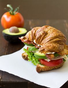 Turkey Avocado BLT Croissant Sandwich - Culinary Hill