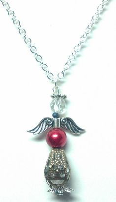 Red Bead Angel Necklace by teresadelosh on Etsy, $15.00