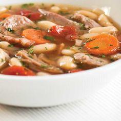 Soupe cassoulet | Ricardo Cassoulet, Ricardo Recipe, Navy Bean, Thai Red Curry, Ethnic Recipes, Cream Soups, Eat, Recipes, Kitchens