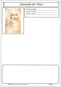 Biography Famous Artists Blank with Map ~ A blank notepage ~ excellent to paste in minibooks or art appreciation lessons.