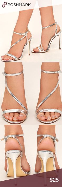 Lulu's Toulouse Silver Dress Sandals Metallic silver vegan leather, wraps around ankle with a silver buckle. These are stunning but I wasn't able to wear them to a wedding I bought them for because I chose a different pair! So beautiful! Lulu's Shoes Heels