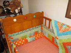 Handmade Baby Bedding Set in Orange Turquoise and Green by vduff, $175.00