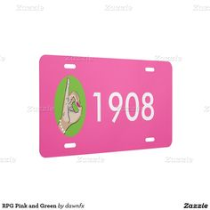 RPG Pink and Green License Plate