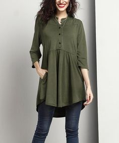 This Olive Notch Neck Button Front Tunic is perfect! #zulilyfinds