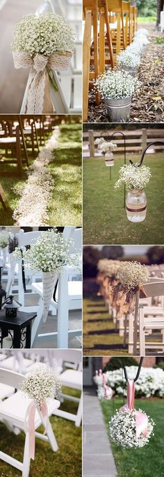 Wedding Baby's Breath Wedding Ideas – Page 2 of 2 chic wedding aisle decoration ideas with baby's breath Wedding Isle Flowers, Rustic Wedding Flowers, Chic Wedding, Wedding Bouquets, Wedding Ceremony, Trendy Wedding, Wedding Vintage, Summer Wedding, Wedding Rings